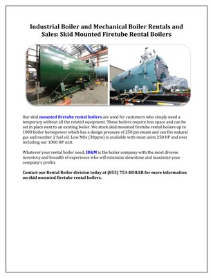 Industrial Boiler and Mechanical Boiler Rentals and Sales: Skid Mounted Firetube Rental Boilers