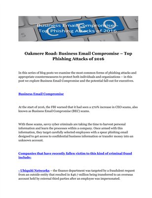 Oakmere Road: Business Email Compromise – Top Phishing Attacks of 2016