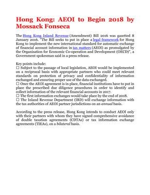Hong Kong: AEOI to Begin 2018 by Mossack Fonseca