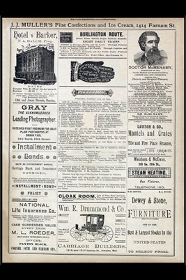 1888 OMAHA, NEBRASKA BUSINESS ADS