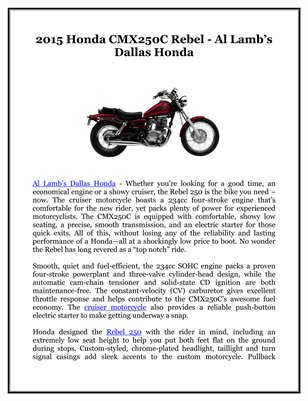 2015 Honda CMX250C Rebel - Al Lamb's Dallas Honda