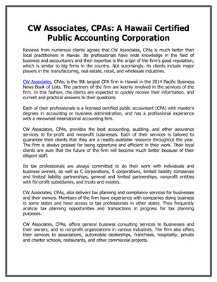 CW Associates, CPAs: A Hawaii Certified Public Accounting Corporation