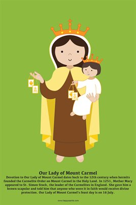 Happy Saints Our Lady of Mount Carmel Poster