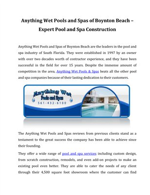 Anything Wet Pools and Spas of Boynton Beach