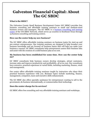 Galveston Financial Capital: About The GC SBDC
