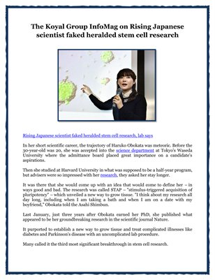 The Koyal Group InfoMag on Rising Japanese scientist faked heralded stem cell research