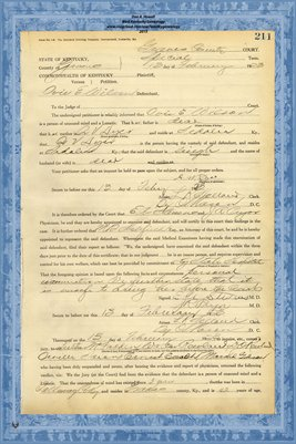 1923 State of Kentucky vs. Ovie E. Wilson, Graves County, Kentucky