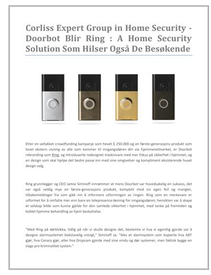 Corliss Expert Group in Home Security - Doorbot Blir Ring : A Home Security Solution Som Hilser Også De Besøkende