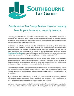Southbourne Tax Group Review: How to properly handle your taxes as a property investor