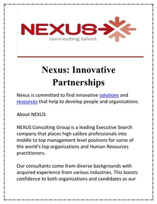 Nexus: Innovative Partnerships