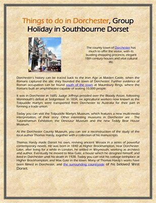 Things to do in Dorchester, Group Holiday in Southbourne Dorset