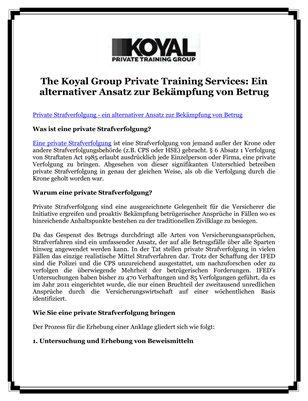 The Koyal Group Private Training Services: Ein alternativer Ansatz zur Bekämpfung von Betrug