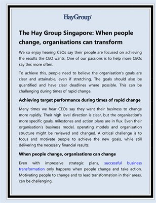 The Hay Group Singapore: When people change, organisations can transform