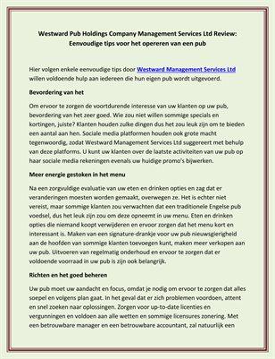 Westward Pub Holdings Company Management Services Ltd Review: Eenvoudige tips voor het opereren van een pub