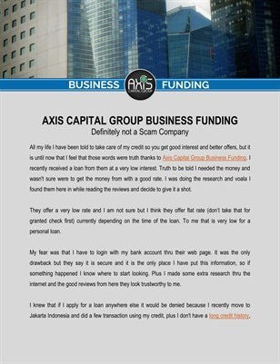 Axis Capital Group Business Funding is Definitely not a Scam Company