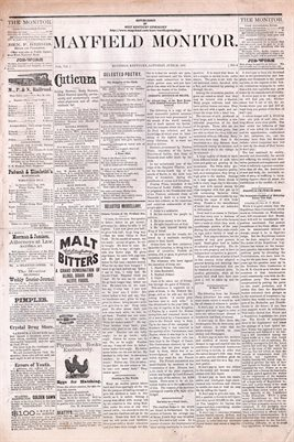(PAGES 1-2) JUNE 25, 1881 MAYFIELD MONITOR NEWSPAPER, MAYFIELD, GRAVES COUNTY, KENTUCKY