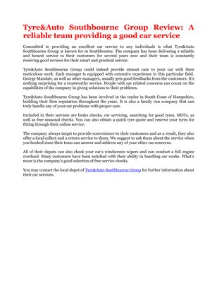 Tyre&Auto Southbourne Group Review: A reliable team providing a good car service
