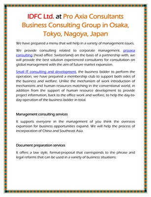 IDFC Ltd. at Pro Axia Consultants Business Consulting Group in Osaka, Tokyo, Nagoya, Japan