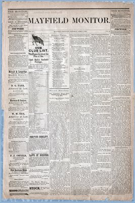 (Pages 1-2) Mayfield Monitor, APRIL 05,1879
