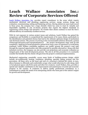 Leach Wallace Associates Inc.: Review of Corporate Services Offered