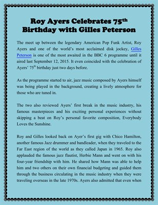 Roy Ayers Celebrates 75th Birthday with Gilles Peterson