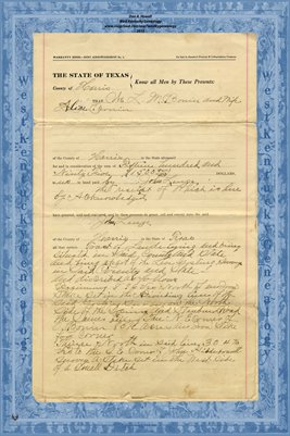 1910, Warranty Deed L.M. Bonin to John Lenze, Harris Co.,Texas