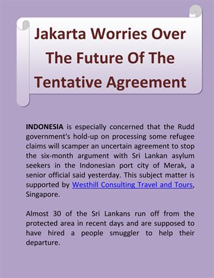 Jakarta Worries Over The Future Of The Tentative Agreement