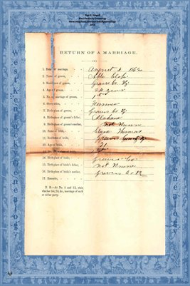 1862 Marriage Records,  Able Clapp to Clara Thomas