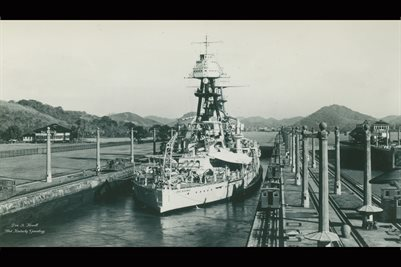 BATTLE SHIP OKLAHOMA IN PANAMA CANAL