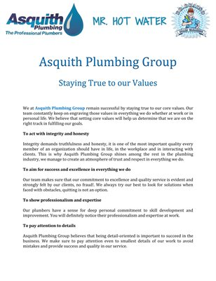 Asquith Plumbing Group: Staying True to our Values