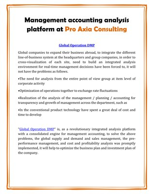 Management accounting analysis platform at Pro Axia Consulting