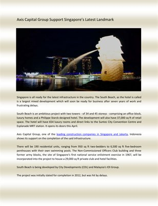 Axis Capital Group Support Singapore's Latest Landmark