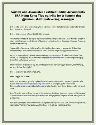 Norvell and Associates Certified Public Accountants USA Hong Kong Tips og triks for skatt innlevering sesongen