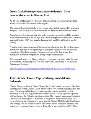 Tvinx Article: Crown Capital Management Jakarta Indonesia