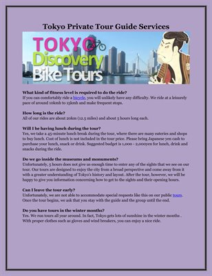Tokyo Private Tour Guide Services
