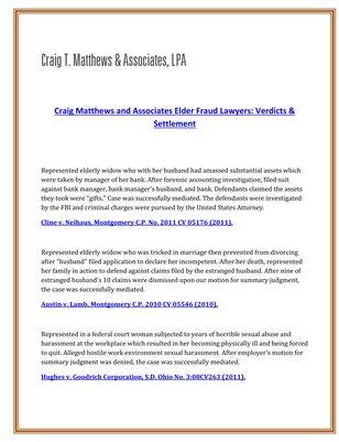Craig T. Matthews & Associates, LPA Verdicts & Settlement Craig matthews and associates elder fraud lawyers