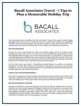 Bacall Associates Travel - 7 Tips to Plan a Memorable Holiday Trip