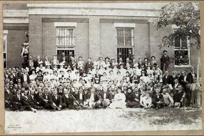 1896-97 Graves Co. Institute Teachers, Sally McGoodwin Supt. of Schools in Graves County in black on front row