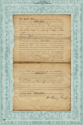 1865 Sheriff's Deed, William Penin & David Dyer, Ralls County, Missouri