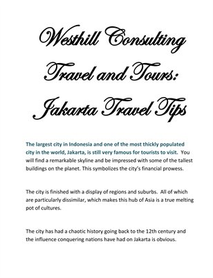 Westhill Consulting Travel and Tours: Jakarta Travel Tips