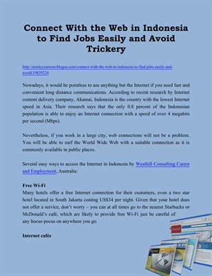 Connect With the Web in Indonesia to Find Jobs Easily and Avoid Trickery