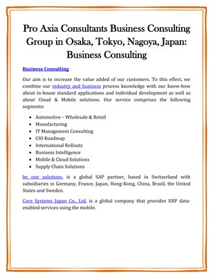 Pro Axia Consultants Business Consulting Group in Osaka, Tokyo, Nagoya, Japan: Business Consulting