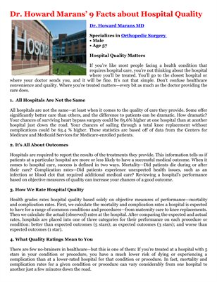 Dr. Howard Marans' 9 Facts about Hospital Quality