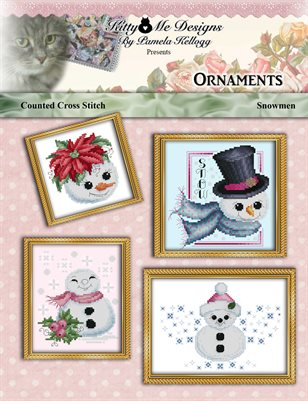 Snowman Ornaments Counted Cross Stitch Pattern