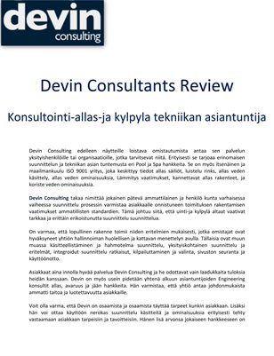 Devin Consultants Review: Konsultointi-allas-ja kylpyla tekniikan asiantuntija