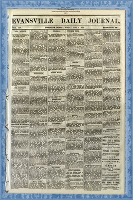 (PAGES 1-2) May 4, 1874 Evansville Daily Journal, Evansville, Indiana