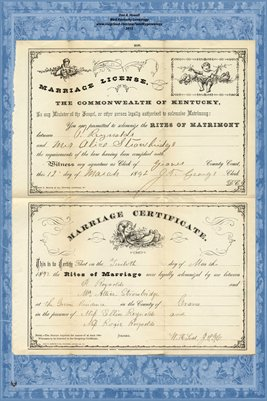 1892 Marriage License and Certificate for P. Reynolds & Mrs. Allice Strowbridge, Graves County, Kentucky