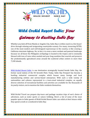 Wild Orchid Resort Subic: Your Gateway to Exciting Subic Bay