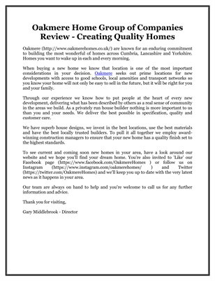 Oakmere Home Group of Companies Review - Creating Quality Homes