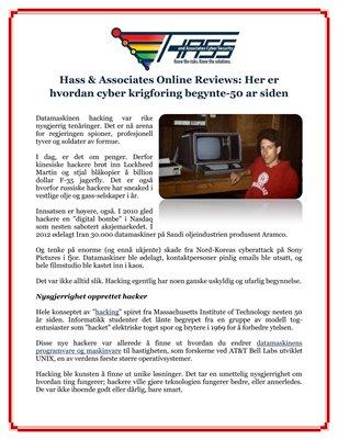 Hass & Associates Online Reviews: Her er hvordan cyber krigforing begynte-50 ar siden